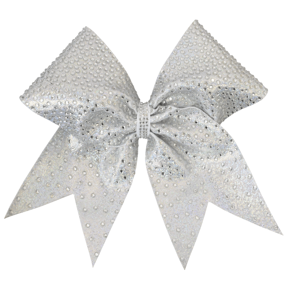 Silver Full On Rhinestone I Love Cheer® Hair Bow – I Love ...