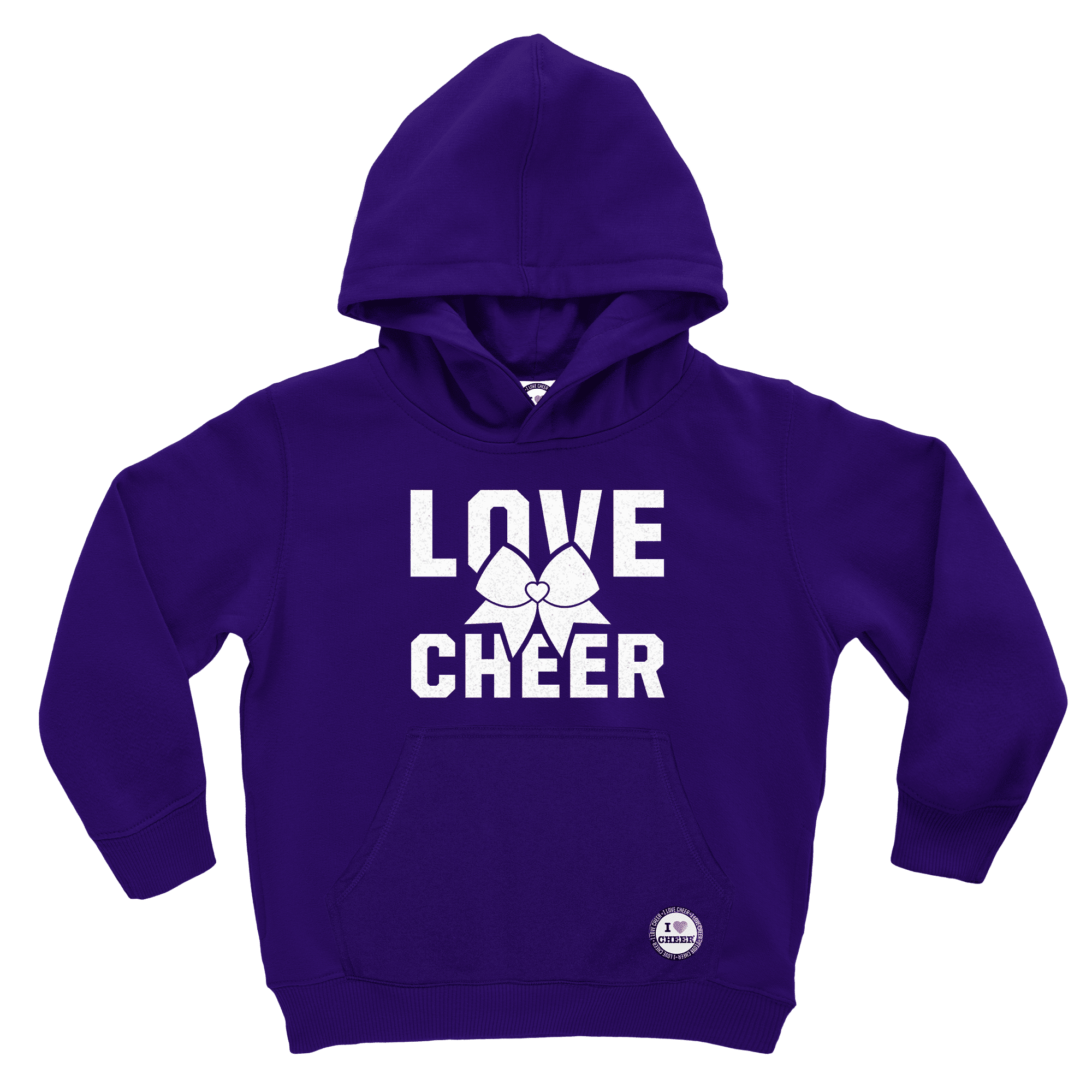 Kids Purple Love Cheer I Love Cheer® Glitter Hooded Sweatshirt – I ... 3f6413a5615d