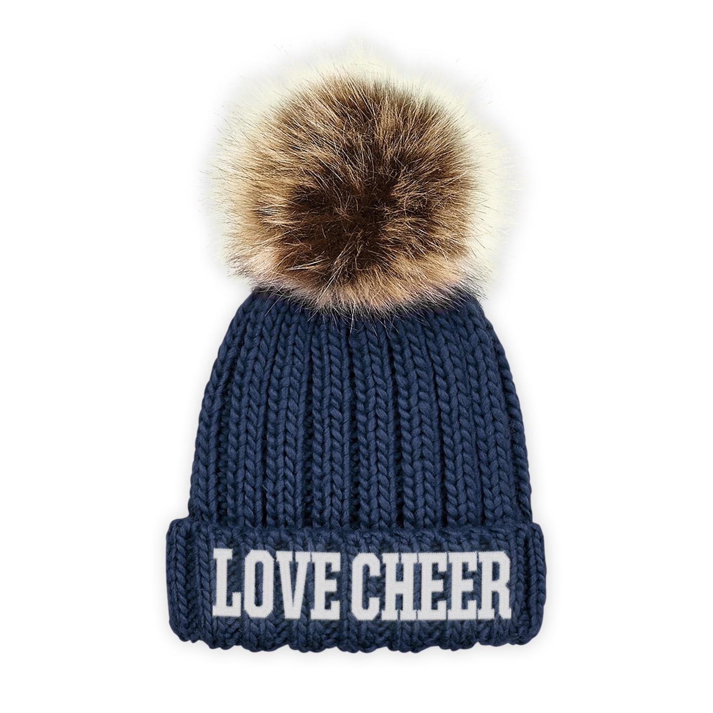 Kids Navy Blue I Love Cheer® Embroidered Chunky Fur Pom Pom Beanie ... 55fa4ebe470