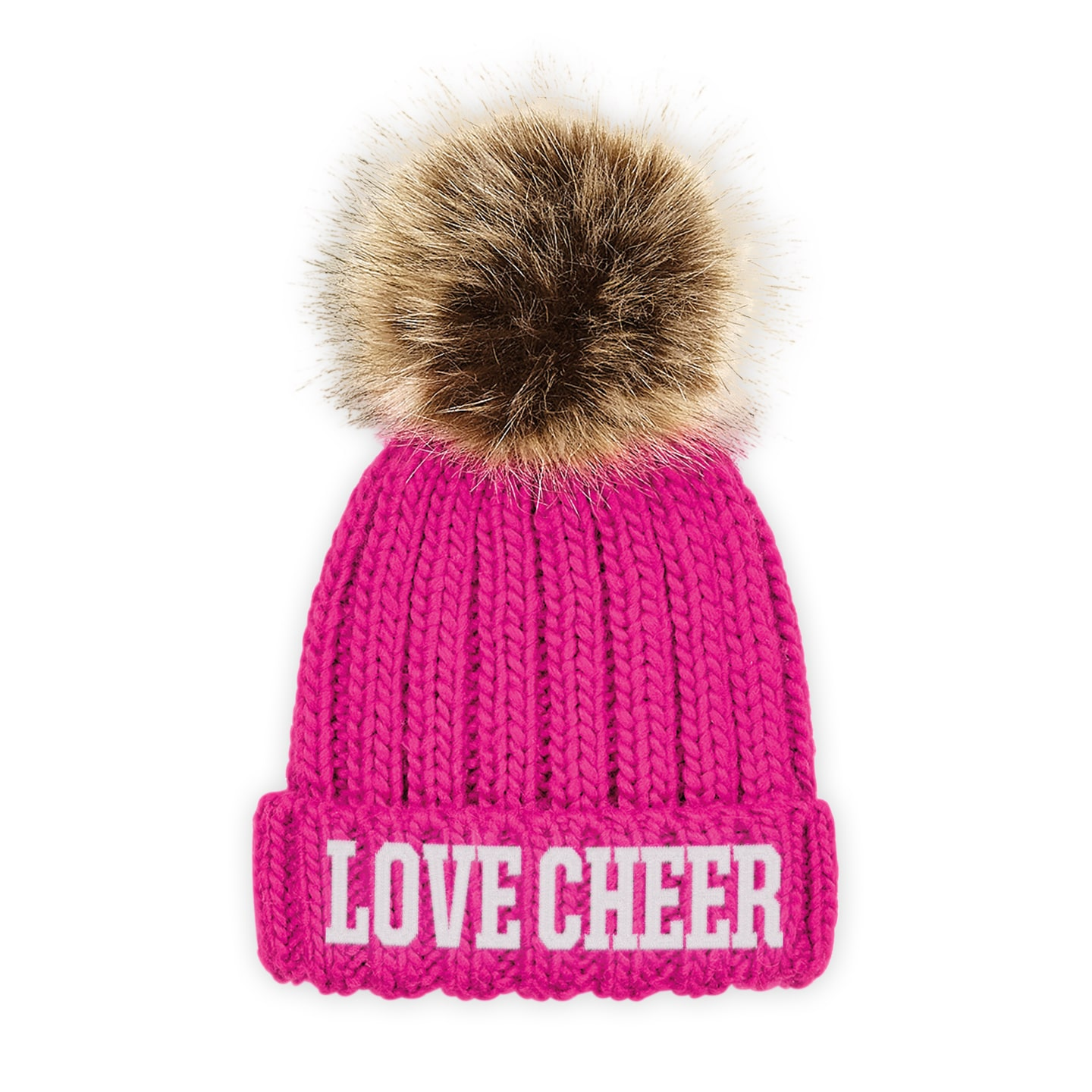 2f0977067c320 SALE. Home   Accessories   Bows   Headwear   Beanies   Kids Fuchsia Pink I  Love Cheer® Embroidered Chunky Fur Pom ...