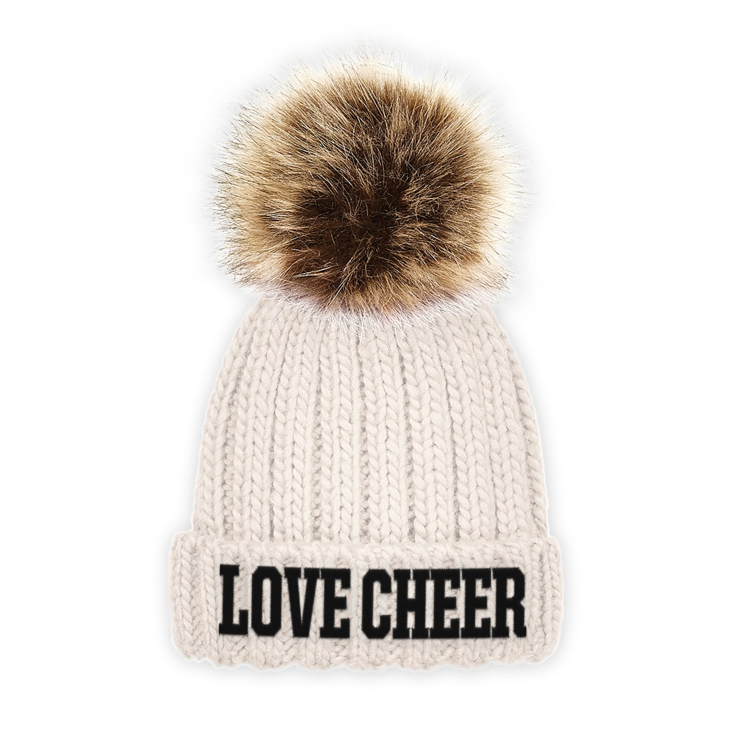 b5782483f86ca SALE. Home   Accessories   Bows   Headwear   Beanies   Kids Oatmeal I Love  Cheer® Embroidered Chunky Fur Pom ...