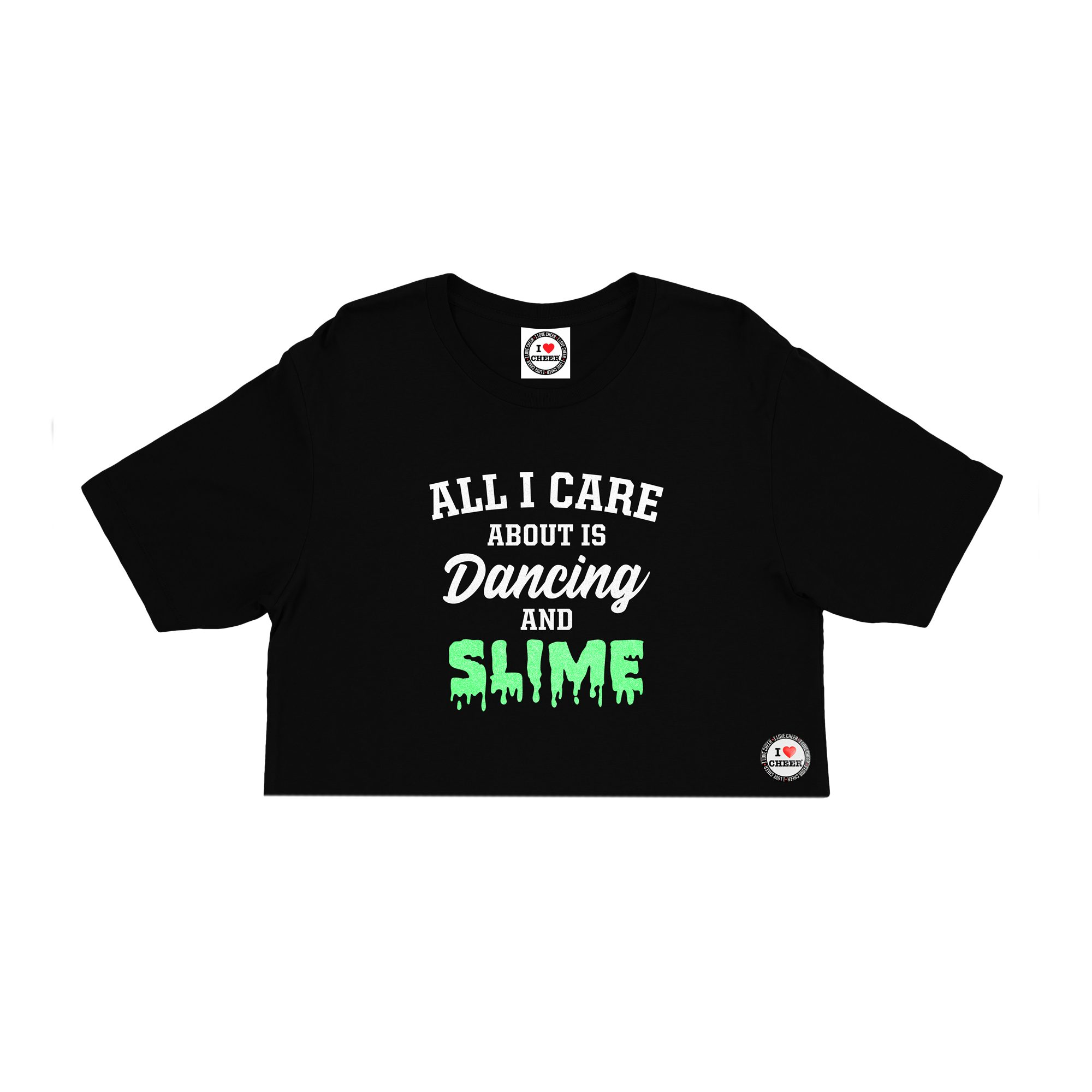 a69179a2 Kids Black Dancing and Slime Slogan Glitter Cropped T-Shirt – I Love Cheer®