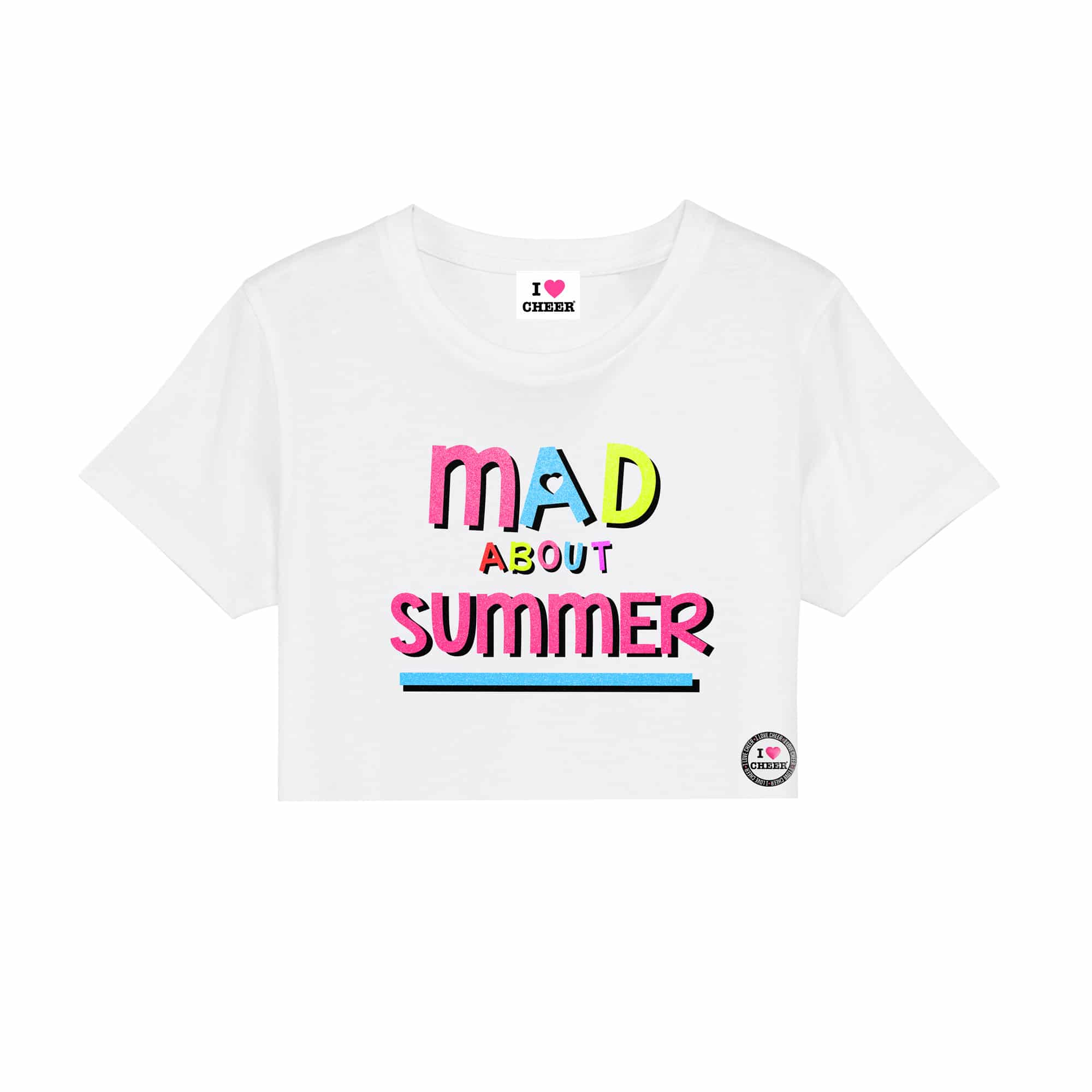 9b632d67 White Mad About Glitter Cropped T-Shirt – I Love Cheer®