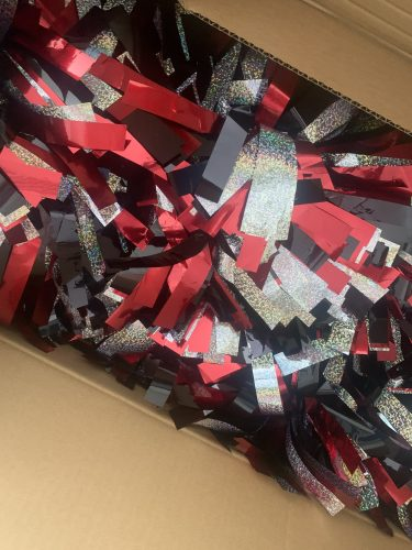"""Holographic Silver, Metallic Red and Metallic Black 6"""" Pom photo review"""