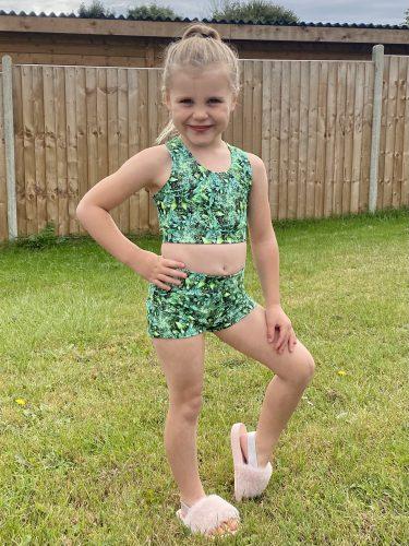 Glisten Green Cross Strap Crop Top, Shorts & Hair Accessory Set photo review
